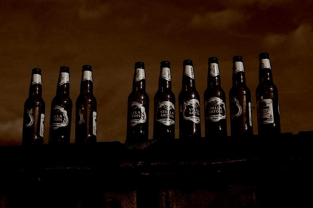 9 beer bottles sitting on a fence (2).