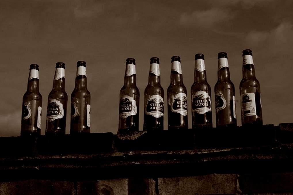 9 beer bottles sitting on a fence.