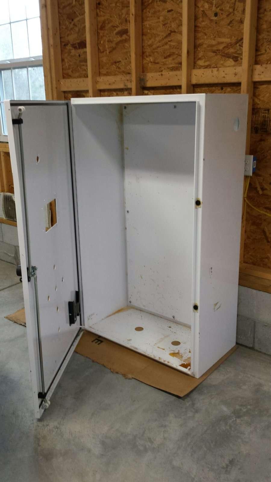 cabinet open.