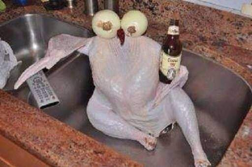 Chicken Chill in the sink.