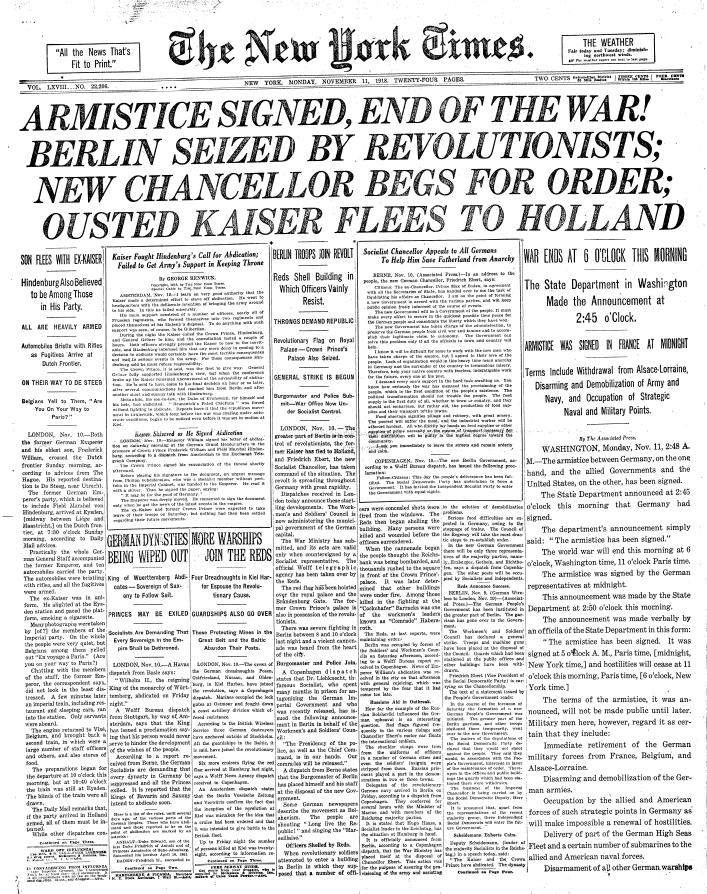 NYTimes-Page1-11-11-1918.