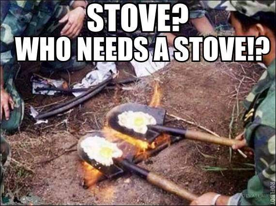 Shovel cooking eggs.