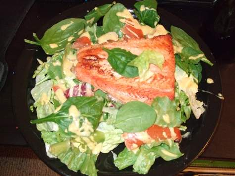 Sockeye_Salmon_Honey_Dijon_on_greens.