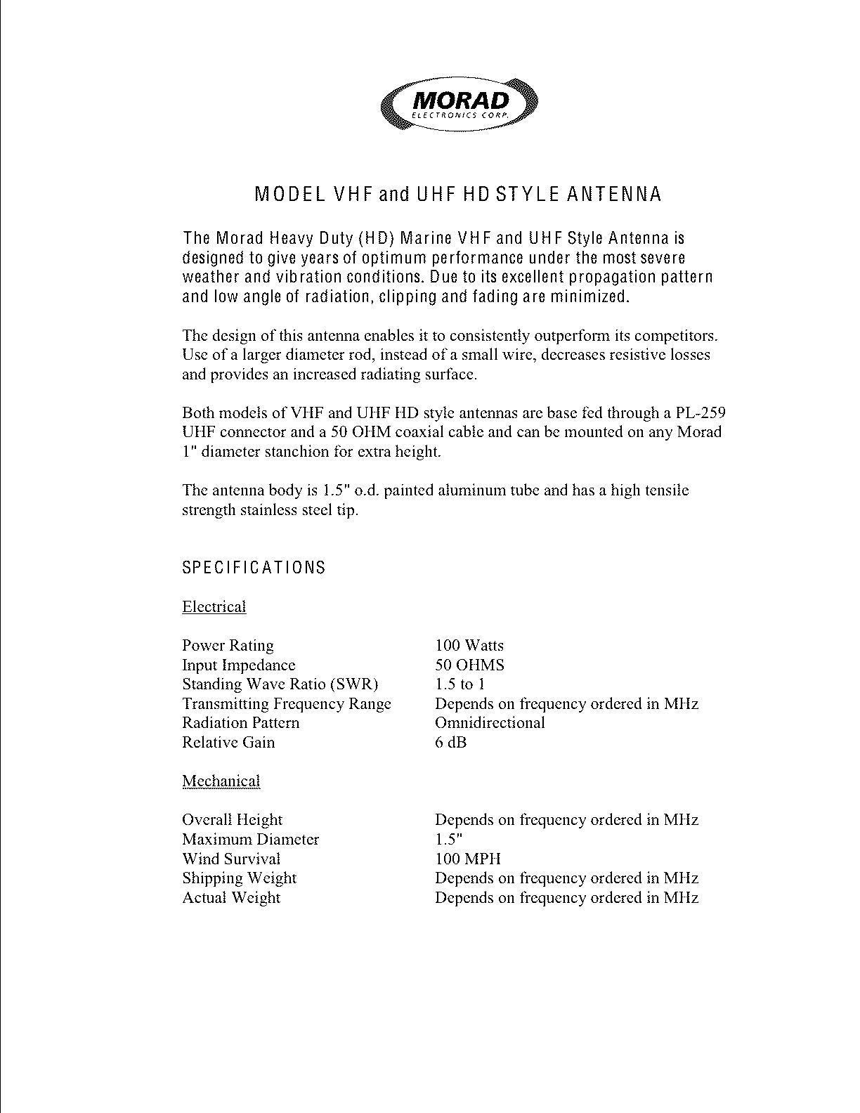 Spec VHF-HD and UHF HD-style antennas.
