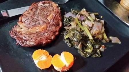 Steak mustard greens mandarin.