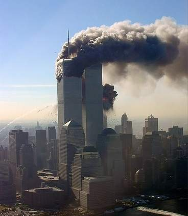 World Trade Center burning.