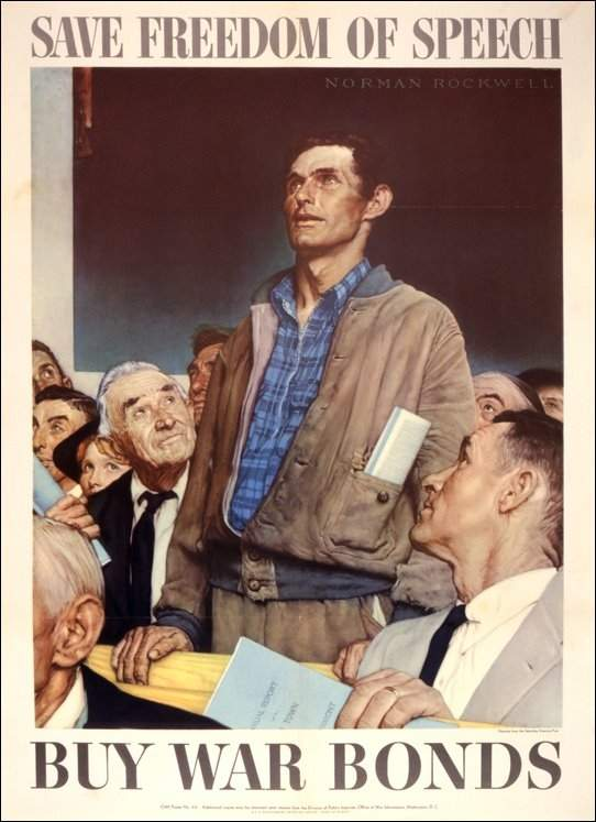 WWII_Patriotic_Posters_United_States_America_War_Bonds_Norman_Rockwell_Freedom_of_Speech-1.