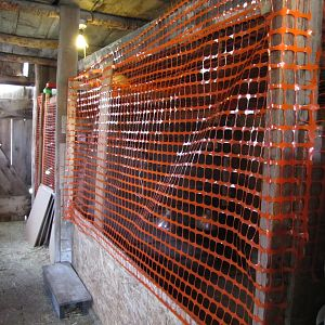 chick pens in the barn.