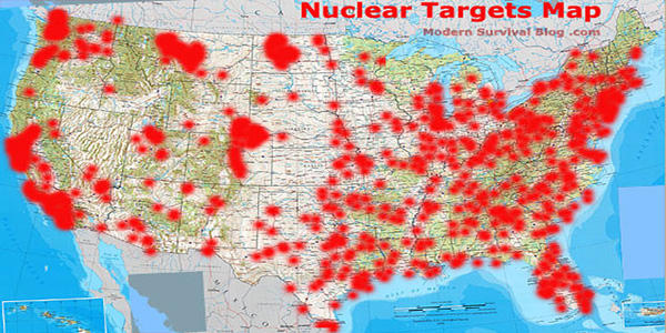 Updated Nuclear Fallout And First Strike Maps For USA Survival - Fallout game map of us